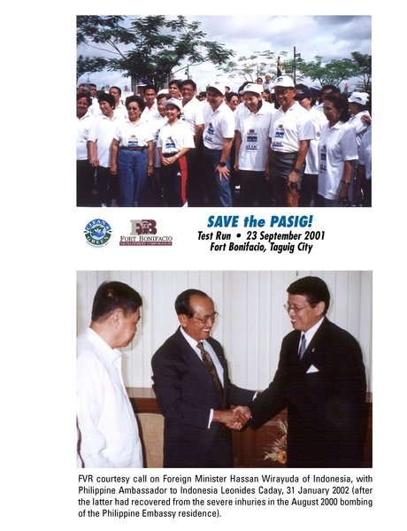 FVR Courtesy call on Foreign Minister Hassan Wirayuda of Indonesia, with  Philippine Ambassador to Indonesia Leonides Caday, 31 January 2002 (after the latter had recovered from the severe inhuries in the August 2000 bombing of the Philippine Embassy residence.)